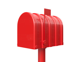 Closed red mailbox isolated
