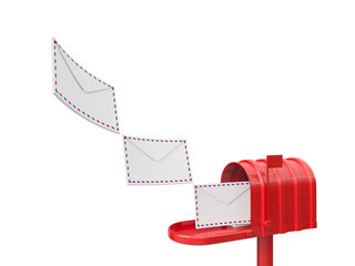 Mailbox with flying leters isolated