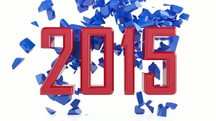 Red 2015 new year sign destroys 2014 new year sign