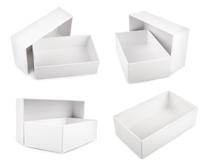 white blank boxes isolated on white background