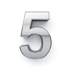 3d render of metalic digit five simbol - 5