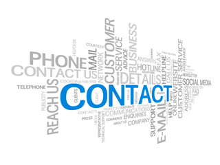 """CONTACT"" Tag Cloud (phone us customer service details hotline)"