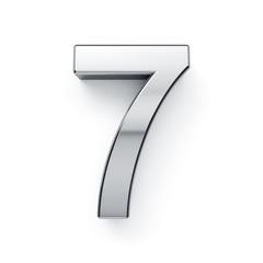 3d render of metalic digit simbol - 7