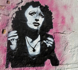 Fado Singer Amalia Rodrigues mural artwork in Lisboa, Portugal.