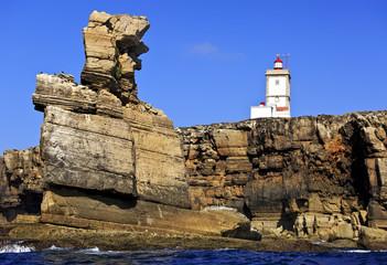 Lighthouse at Cape Carvoeiro, Nau dos Corvos. Peniche, Portugal