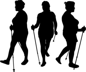 Vector silhouette of women with Nordic walking.
