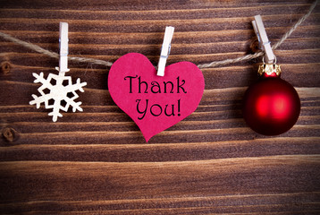 Thank You on a Heart with Christmas Decoration