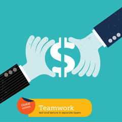 Team working hand with dollar sign