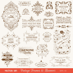 Vintage Frames and Banners, Calligraphic Design