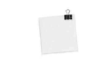 papierblock mit papierklemme; notizzettel büroklammer, quadrat