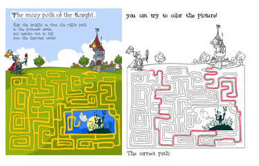 Fairytale Maze and coloring game.