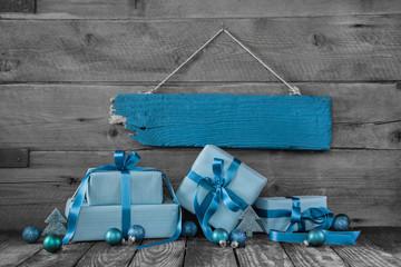 Weihnachtsgutschein oder Geschenkgutschein; Weihnachten in Blau