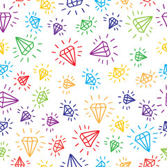 Cartoon diamond seamless vector background. Template for your