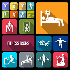 Workout training icons set flat
