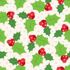 Seamless pattern of holly berry sprig.  Vector illustration