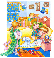 Watercolor illustration. Children woke up and wake up parents