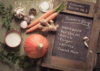 Zutaten Kürbissuppe, Halloween