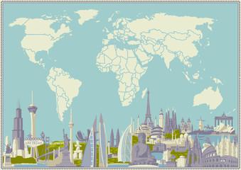 Векторная карта мира с самыми известными достопримечательностями