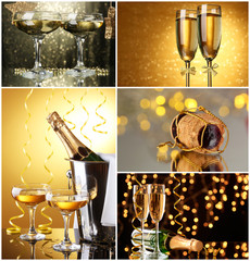 Christmas collage. Glasses of champagne on  shine  background