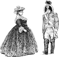 persons in the historical costumes