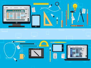 Web design flat vector concept illustration.