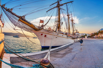 Old sailing ship in sunset light