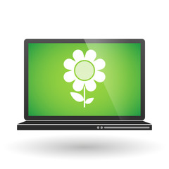 Laptop with a flower