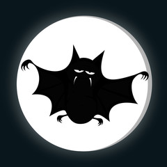 Funny freaky bat - a black bat is smiling (full moon)