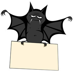 Funny freaky bat - a bat is holding a bulletin board