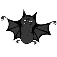 Funny freaky bat - a big black fat bat is smiling at you