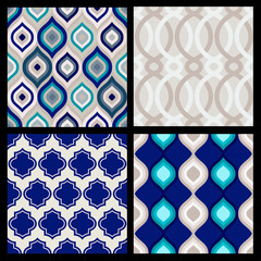 Set of seamless patterns. Abstract  geometric wallpaper. Vector