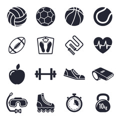 Sports and fitness theme, black and white icons.
