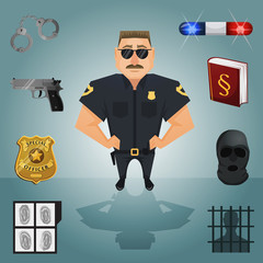 Policeman character with icons