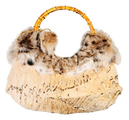 Fur bag isolated