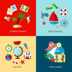 Holiday icons flat set