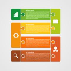 Puzzle piece infographics business concept. Vector illustration.