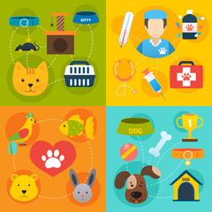 Veterinary icons set flat