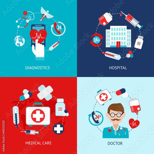 Medical icons flat set - 69550330