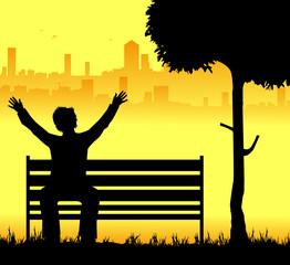 uomo seduto sulla panchina