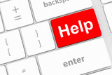 keyboard message with online supports or help concepts poster