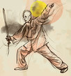 Tai Chi. An hand drawn illustration converted into vector