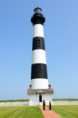 TBodie Island lighthouse seen with park rangers