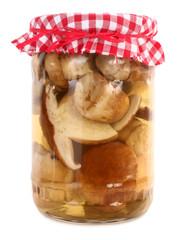Porcini mushrooms preserved in jar