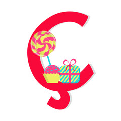 "Letter ""cedilla"" from stylized alphabet with candies"
