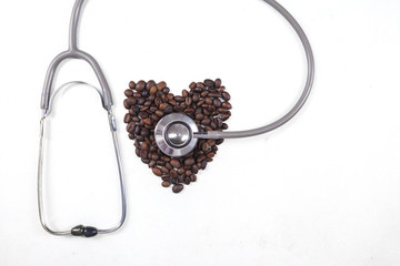 Coffee beans with a stethoscope