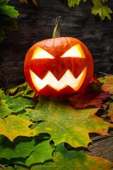 Glowing halloween pumpkin on autumn leaves