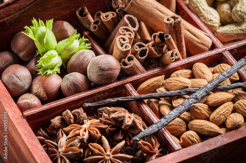 Fototapety, obrazy : Closeup of ingredients and nuts for chocolate