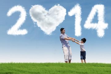 Happy family enjoying new year holiday