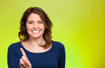 Woman pointing at you camera gesture pushing button,