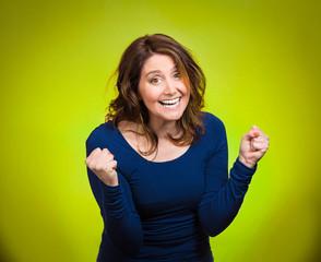 Portrait Happy ecstatic woman celebrating being winner